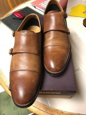 ALDO SIZE 11 MENS LEATHER BROWN DOUBLE BUCKLE STRAP SHOES
