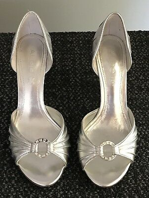 ALDO SILVER STILETTO LEATHER PUMPS WITH OPEN TOE RING BLING- SIZE 39 US 8-5