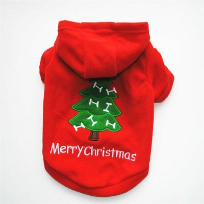 CHRISTMAS DOG CLOTHES THICK WARM HOODED COAT JACKET PULLOVER CLOTHES OUTFIT BY