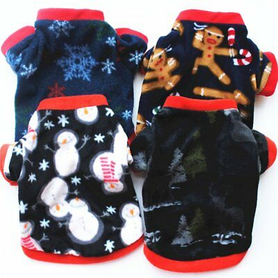 CHRISTMAS DOG CLOTHES THICK WARM FABRIC COAT AUTUMN WINTER PULLOVER OUTFIT BY