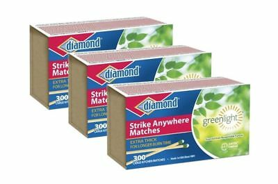Diamond Strike Anywhere Greenlight Matches 3 Boxes of 300 900 total Matches