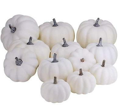 12 Pcs Halloween Harvest White Artificial Pumpkins Fall Thanksgiving Decorative