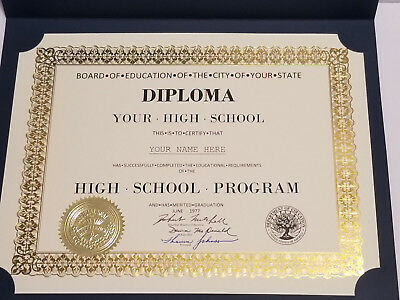 HIGH SCHOOL DIPLOMA w GOLD SEAL PERSONALIZED HANDSIGNED w Cover FREE SHIP RETRO