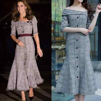 Kate Middleton Plaid Fit Flare Midi Dress Mermaid Iman Off Shoulder Asymmetric