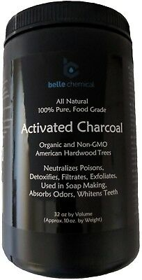 Organic and Non-GMO American Hardwood Activated Charcoal 10oz Jar