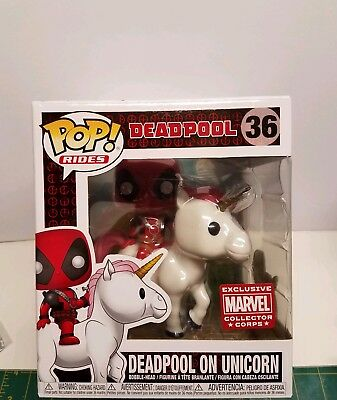 Funko Pop Rides Deadpool on Unicorn  Marvel Collector Corps w soft protector