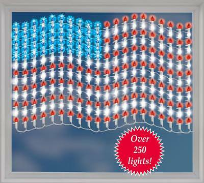 Patriotic 4th Of July Lighted Mesh American Flag Wall Window Décor 30L