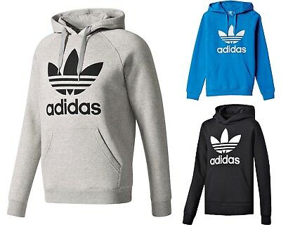 New Mens Adidas Original Mens Trefoil Fleece Hoodie Hooded Sweatshirt Pullover