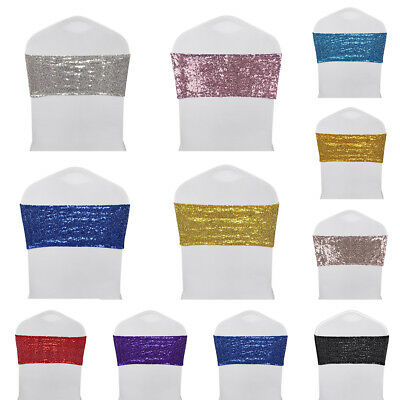 102550100pcs Spandex Sequin Chair Sashes Bow Band Cover Wedding Party Banquet