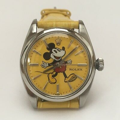 Vintage 1951 Rolex Precision 6426 Custom Mickey Mouse Dial Yellow