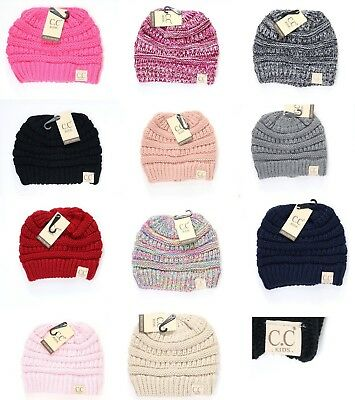 Authentic CC Kids Beanie Hats Baby Toddler Ribbed Knit Children Winter Cap