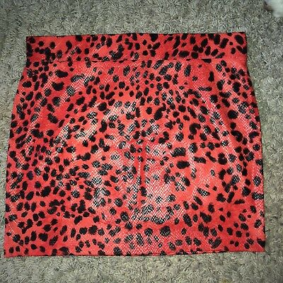 NEW Wet Seal S Small Mini Skirt Bodycon Animal Print Red Faux Leather Size NWOT