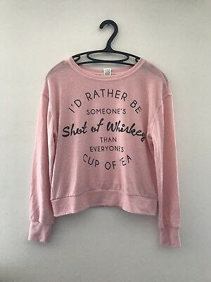 Solid Pink Women's Regular Long Sleeve Wet Seal Scoop Neck Sweater Size Small
