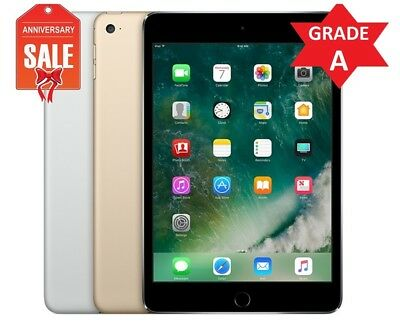 Apple iPad Mini 4 WiFi - Cellular Unlocked I Gray Silver Gold I 16GB 32GB 64GB