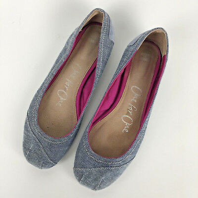 Toms Katia Size 9 Blue Denim Chambray Ballet Flats Shoes Slip On