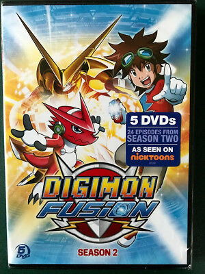 Digimon Fusion Season Two SEALED 5 DVDS FREE SHIPPING Ohio seller Nicktoon