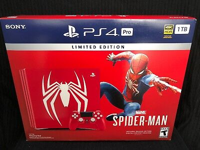 PlayStation 4 Pro 1TB Limited Edition Console - Marvels Spider-Man PS4 Bundle
