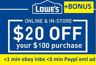 FIVE 5X Lowes 20 OFF 100Coupons-InStore Online -Fast - BONUS STACK INFO 5