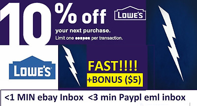 FIVE 5x Lowes 10 OFF Coupons Discount - INstoreonline -BONUS STACK INFO 5