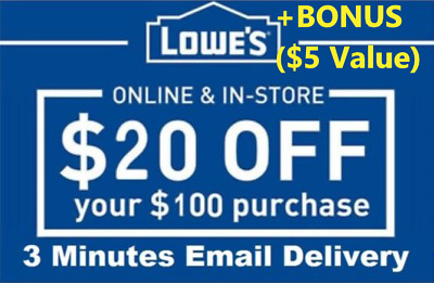 TWO 2x Lowes 20 OFF 100Coupons-InStore Online -Fast-Delivery-BONUS INFO 5
