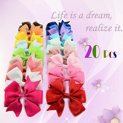 20pcsset Hair Bows With Clip 3 inch Grosgrain Ribbon Hairpins For Kids Girl
