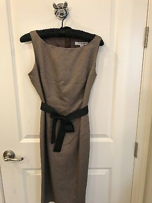 LK Bennett Dress Gold with black ribbon belt US 6 Kate Middleton fave brand