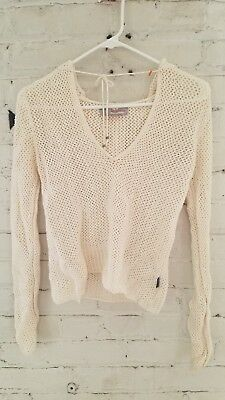 Womens Hollister Co Cream Off White Knit Hooded Sweater Size Small Approx