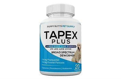 Tapex Plus Dewormer 20 Capsules Tapeworm for Large Dogs 1 Dose Works in 24 Hours