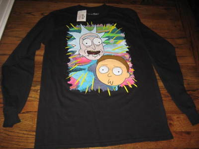 Rick And Morty Long Sleeve Black Tee Shirt   S-M L-XL 2Xl  New With Tags