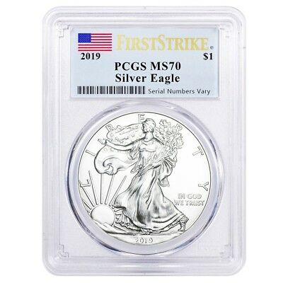 Sale Price - 2019 1 oz Silver American Eagle 1 Coin PCGS MS 70 First Strike
