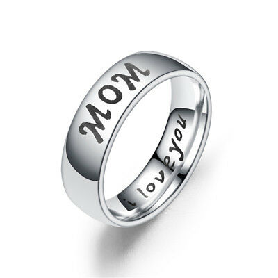 Mothers Day I Love You Letters Titanium Steel Finger Ring Mom-Daughter Gift MA
