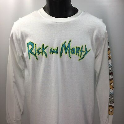 Rick And Morty T-shirt Men's Small Long Sleeve White Graphic T Adult Swim