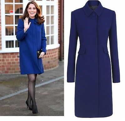 JIGSAW ROYAL BLUE COBALT PRINCESS CUT WOOL COAT JACKET KATE MIDDLETON SIZE 10