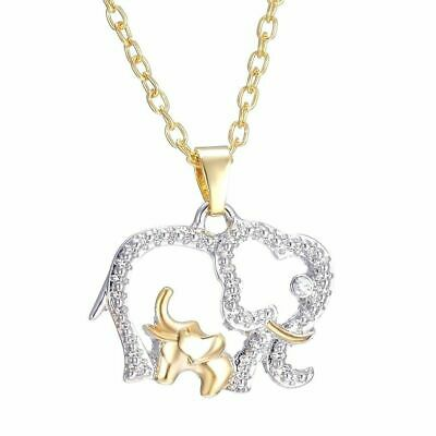 Baby And Mom Dad Elephant Necklace With Crystal Jewelry Mothers Day Gift