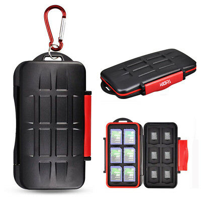Water-Resistant Memory Card Case Storage Holder fits 12 SD -12 Micro SD TF Cards