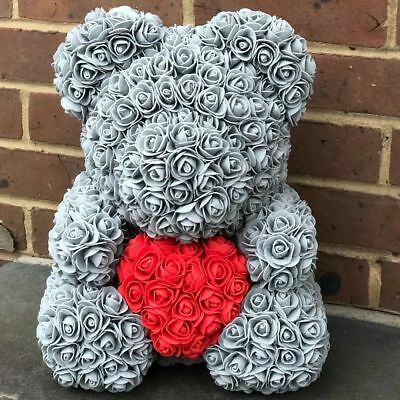 15 Gray Rose Bear Flower Ted Wedding Birthday Valentine Gifts Toys for Her