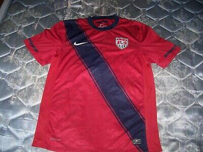 AUTHENTIC NIKE DRI-FIT MENS SIZE MEDIUM TEAM USA RED SOCCER JERSEY world cup