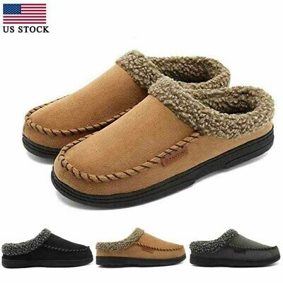 Mens House Slippers Micro Suede Indoor Rubber Sole Shoes Warm Moccasins Winter
