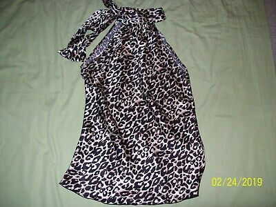 WOMENS WET SEAL LEOPARD PRINT SLEEVELESS BLOUSE- SIZE SMALL-