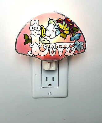 Night Light LOVE Artisan Hand Painted Stain Glass Colorful - New