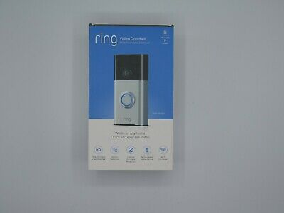 NEW SEALED Ring Wi-Fi Enabled Video Doorbell in Satin Nickel Works with Alexa