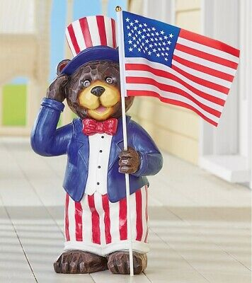 Patriotic Bear Holding American Flag Garden Statue 4th of July Yard Home Decor