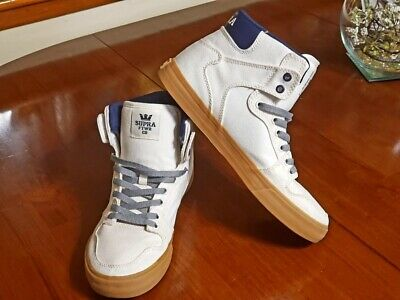 Supra Vaider Size 10 High Top Gum Bottom White And Blue Sneaker Shoes