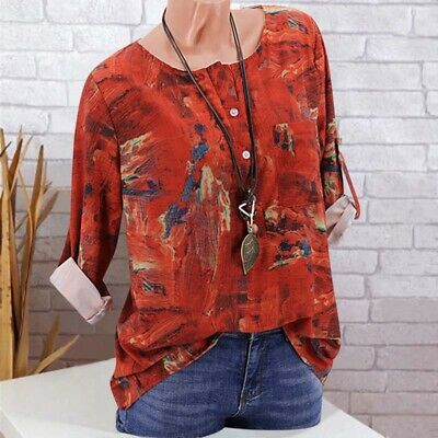 Womens Floral Print T-Shirt Casual Loose Blouse Round Neck Long Sleeve Tops Tee