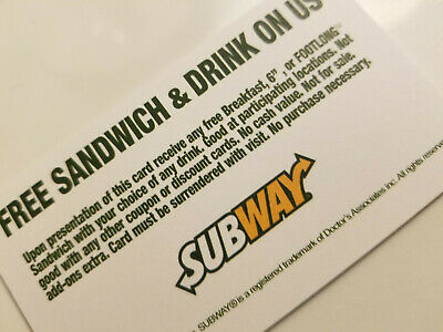 6 Subway Sandwich Combo Foot long meal Vouchers NO EXPIRATION  FAST SHIPPING