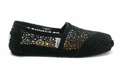 New Authentic Womens Black Morocco Crochet Toms Shoes