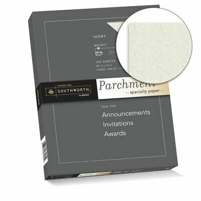 Southworth Parchment Specialty Paper 8 12 x 11 24 Lb- Ivory Pack Of 100