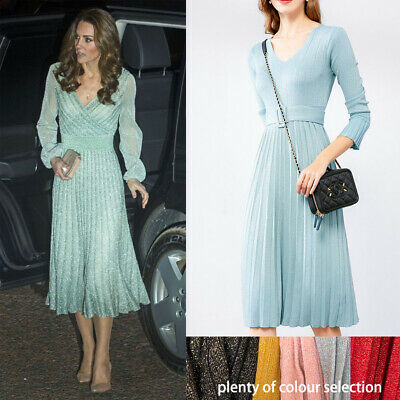 Kate Middleton Metallic Lurex Sparkly Mint Pleated Midi Knit Dress Belt Stretchy