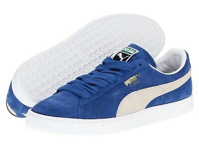 Mens Shoes PUMA SUEDE CLASSIC Casual Sneakers 352634-64 BLUE WHITE