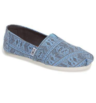 TOMS Classic Cornflower Blue Forest Tribal Canvas Slip on Shoe Flat